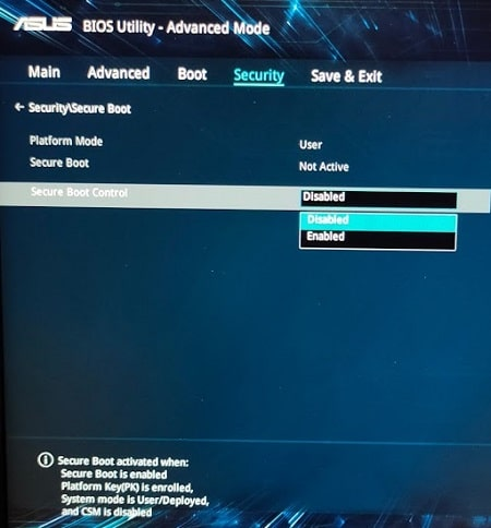 Disable Secure Boot in Windows 10