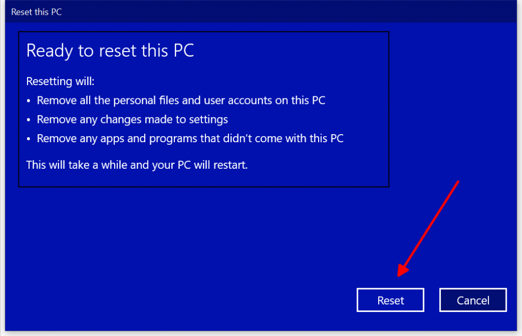 windows 10 factory reset