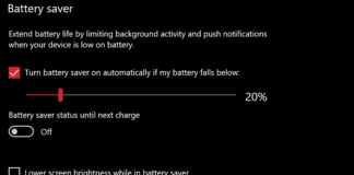 Stop Screen dimming in Windows 10 when on Batter Saver